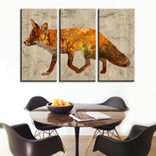 Fox Print 3 Piece HD Multi Panel Canvas Wall Art Frame