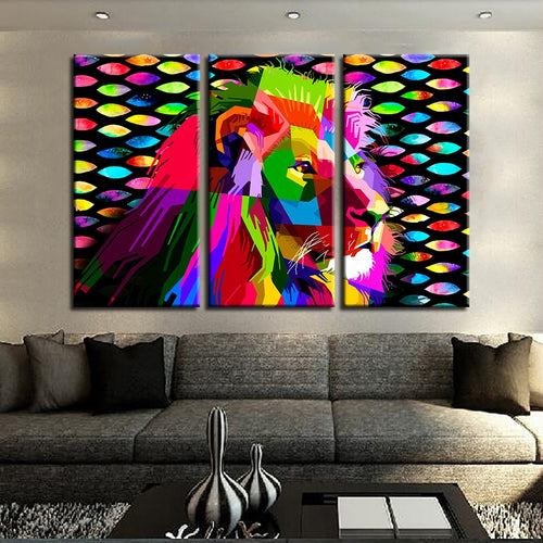 Digital Lion Print 3 Piece HD Multi Panel Canvas Wall Art Frame