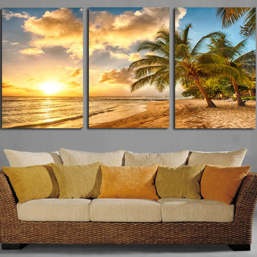 Sunset Beach Wave 3 Piece HD Multi Panel Canvas Wall Art Frame
