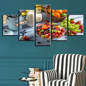 Fruits And Milk 5 Piece HD Multi Panel Canvas Wall Art Frame