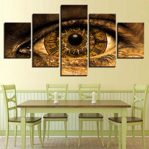 Clock In The Eyes 5 Piece HD Multi Panel Canvas Wall Art Frame