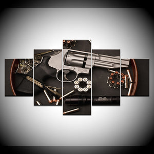 Gun and Bullets 5 Piece HD Multi Panel Canvas Wall Art Frame