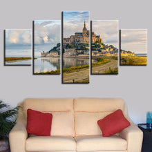Mont Saint Michel 5 Piece HD Multi Panel Canvas Wall Art Frame