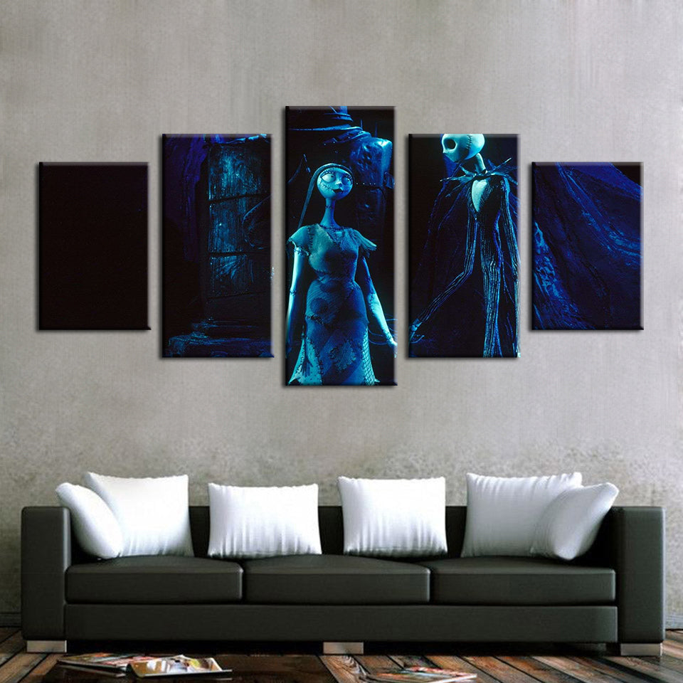 Blue Nightmare  5 Piece HD Multi Panel Canvas Wall Art Frame