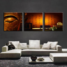 Vintage Golden Buddha 3 Piece HD Multi Panel Canvas Wall Art Frame