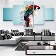 Colorful Parrot 5 Piece HD Multi Panel Canvas Wall Art Frame
