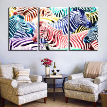 Multicolored Zebras 3 Piece HD Multi Panel Canvas Wall Art Frame
