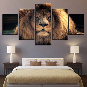 Animal Lion 5 Piece HD Multi Panel Canvas Wall Art Frame