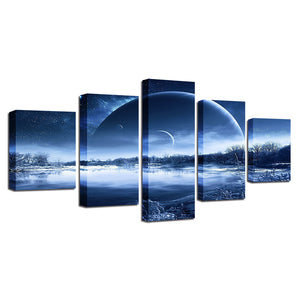 Moonlit Night 5 Piece HD Multi Panel Canvas Wall Art Frame