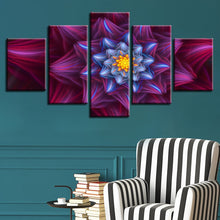 Abstract Red Flowers 5 Piece HD Multi Panel Canvas Wall Art Frame