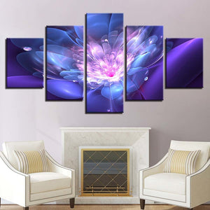 Flower 5 Piece HD Multi Panel Canvas Wall Art Frame