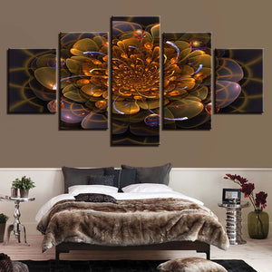 Golden Flower Abstract 5 Piece HD Multi Panel Canvas Wall Art Frame