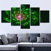 Green Flower 5 Piece HD Multi Panel Canvas Wall Art Frame