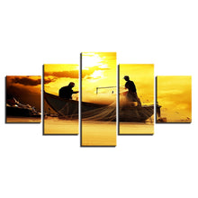 Fishermen At Sunset 5 Piece HD Multi Panel Canvas Wall Art Frame