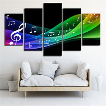 Color Line Of Music Note 5 Piece HD Multi Panel Canvas Wall Art Frame