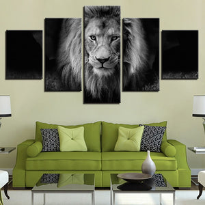 Lion Black And White 5 Piece HD Multi Panel Canvas Wall Art Frame