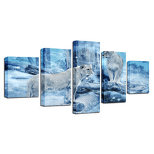 Lioness in Winter 5 Piece HD Multi Panel Canvas Wall Art Frame