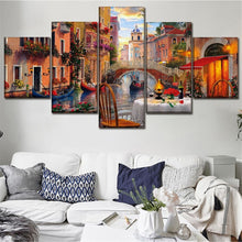 Venice Restaurant 5 Piece HD Multi Panel Canvas Wall Art Frame