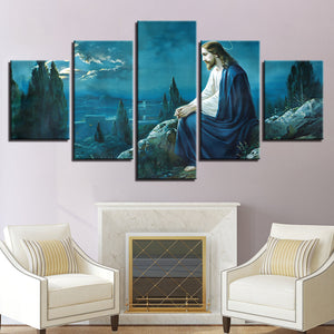Jesus On The Mountains 5 Piece HD Multi Panel Canvas Wall Art Frame