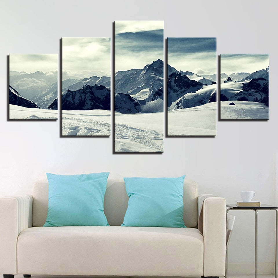 Snow Capped Mountains 5 Piece Hd Multi Panel Canvas Wall Art Frame Original Frame