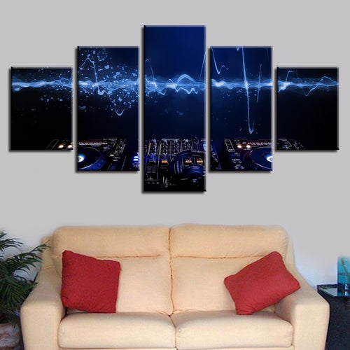 DJ Music Console Instrument Mixer 5 Piece HD Multi Panel Canvas Wall Art Frame