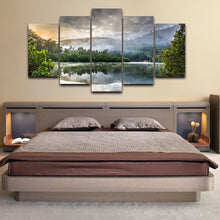 Reflection Of Trees On Surface Of Water 5 Piece HD Multi Panel Canvas Wall Art Frame