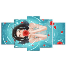 Girl Bathes 5 Piece HD Multi Panel Canvas Wall Art Frame