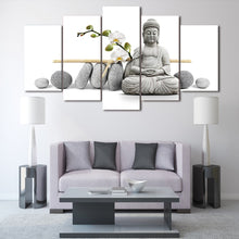 Zen Buddha with Orchids 5 Piece HD Multi Panel Canvas Wall Art Frame