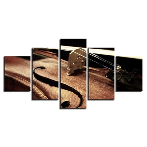 Musical Instrument Violin 5 Piece HD Multi Panel Canvas Wall Art Frame