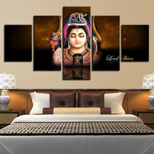 Lord Shiva 5 Piece HD Multi Panel Canvas Wall Art Frame