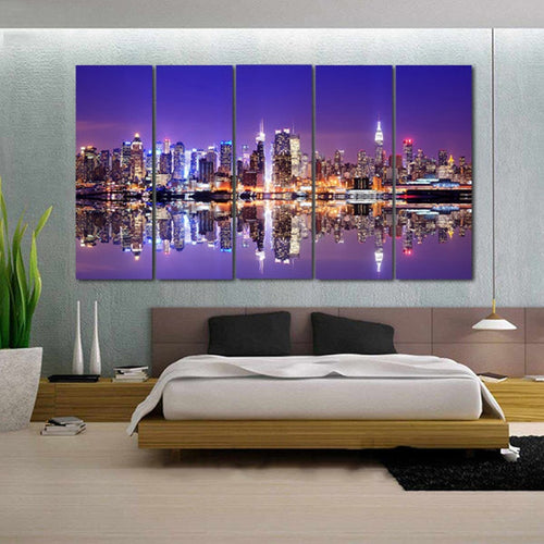 New York City at Night 5 Piece HD Multi Panel Canvas Wall Art Frame