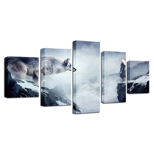 Wolf And Old Man 5 Piece HD Multi Panel Canvas Wall Art Frame