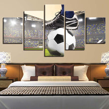 Soccer Game 5 Piece HD Multi Panel Canvas Wall Art Frame