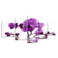Purple Moth Orchid Flower 5 Piece HD Multi Panel Canvas Wall Art Frame