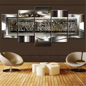 Metal Diamond 5 Piece HD Multi Panel Canvas Wall Art Frame