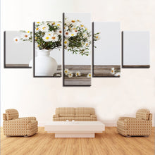 White Small Daisy 5 Piece HD Multi Panel Canvas Wall Art Frame