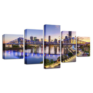 Brisbane Story Bridge 5 Piece HD Multi Panel Canvas Wall Art Frame