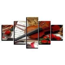 Violin And Red Roses 5 Piece HD Multi Panel Canvas Wall Art Frame