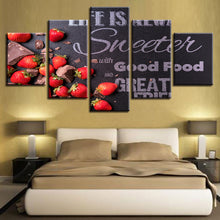 Strawberry Chocolates 5 Piece HD Multi Panel Canvas Wall Art Frame