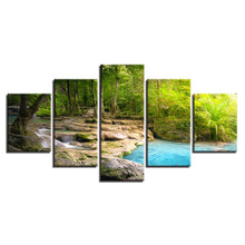 Forest Lake Flowing 5 Piece HD Multi Panel Canvas Wall Art Frame