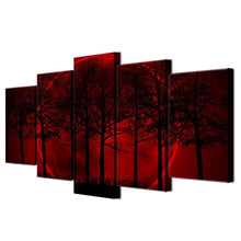 Red Moon Forest 5 Piece HD Multi Panel Canvas Wall Art Frame