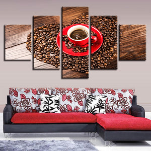 Coffee Beans Heart 5 Piece HD Multi Panel Canvas Wall Art Frame