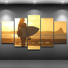 The Surfer Girl 5 Piece HD Multi Panel Canvas Wall Art Frame
