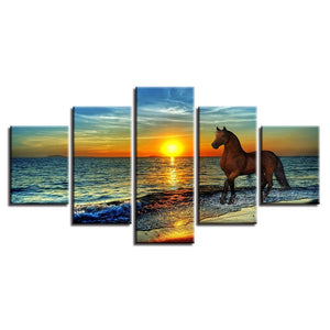 Horse On The Sunset 5 Piece HD Multi Panel Canvas Wall Art Frame