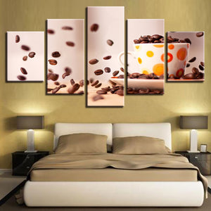 Coffee Beans 5 Piece HD Multi Panel Canvas Wall Art Frame