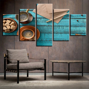 Coffee Cup Art 5 Piece HD Multi Panel Canvas Wall Art Frame