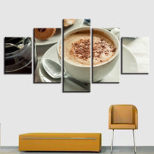 Delicious Coffee 5 Piece HD Multi Panel Canvas Wall Art Frame