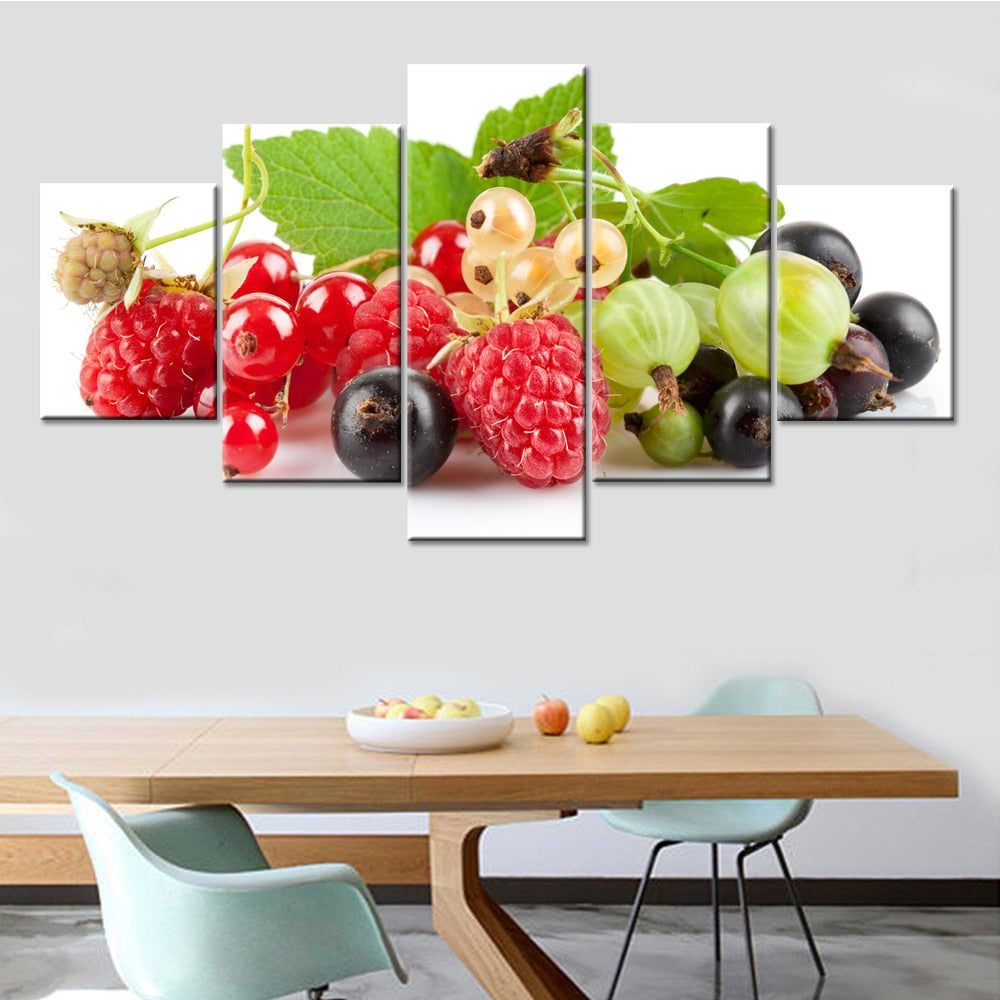 Fruit Decor 5 Piece HD Multi Panel Canvas Wall Art Frame