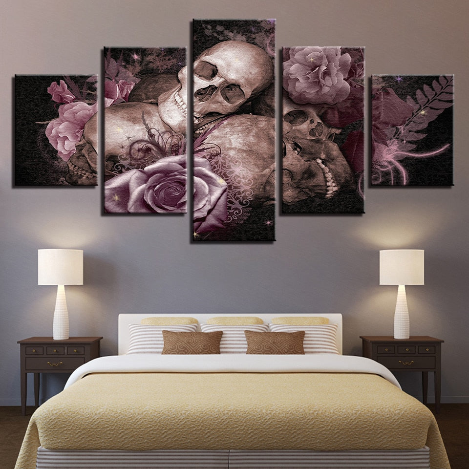Skull & Roses Gothic 5 Piece HD Multi Panel Canvas Wall Art Frame