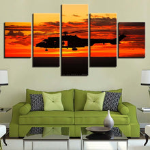 Helicopter at Sunset 5 Piece HD Multi Panel Canvas Wall Art Frame